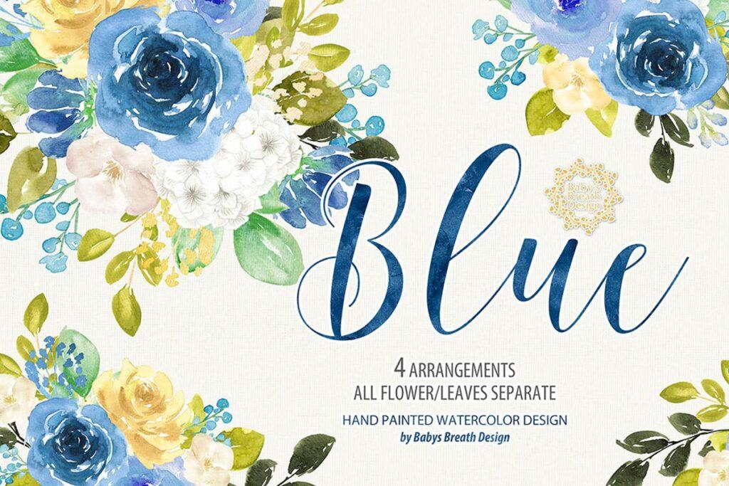 蓝色水彩花卉创意图案设计Blue floral design插图