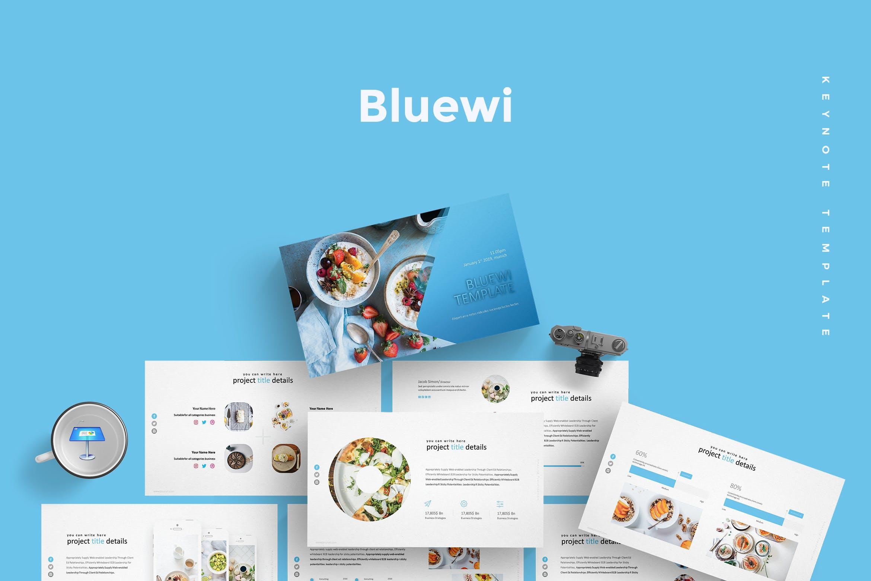 蓝色基调美食摄影展示模板演示文稿Bluewi Keynote Template插图
