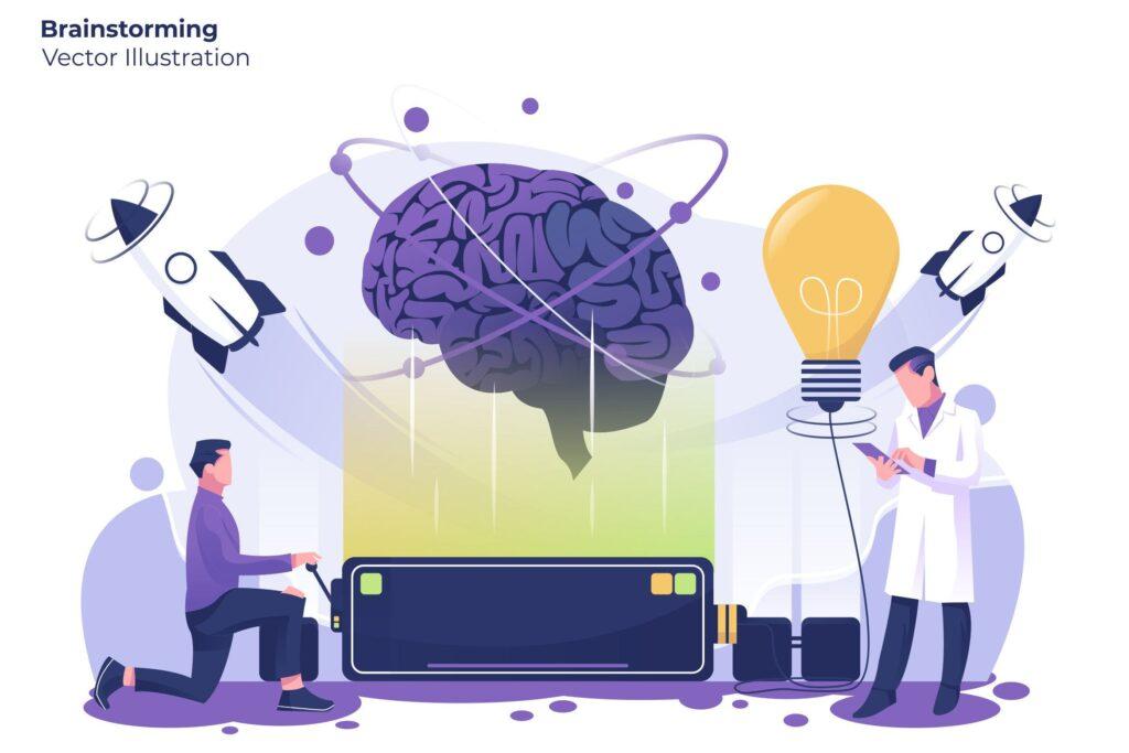 头脑风暴扁平矢量创意设计插图Brainstorming Vector Illustration插图
