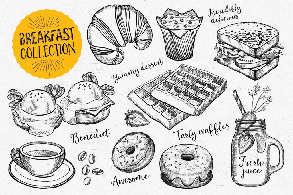 早餐食品面包甜点涂鸦元素装饰图案下载Breakfast Food Elements插图