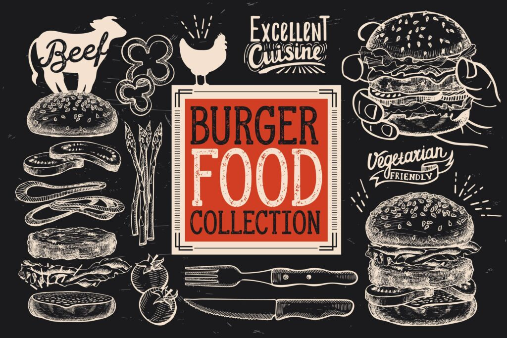 快餐汉堡涂鸦元素装饰图案花纹Burger Fast Food Elements插图