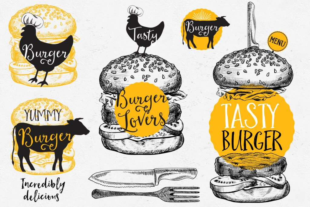 快餐汉堡食品涂鸦元素企业品牌装饰图案下载Burger Food Elements插图