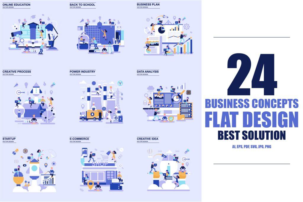 商务主题场景创意扁平化主题插画元素设计Business Flat Concepts插图