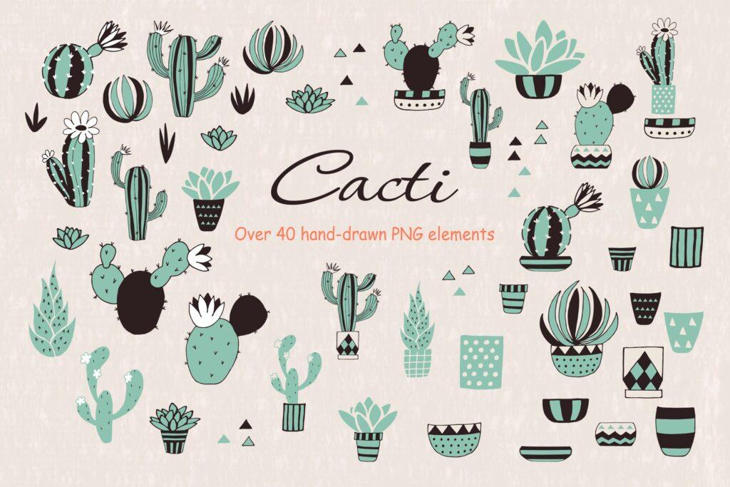 仙人掌多场景创意矢量图纹理素材矢量元素图形Cacti Lbhva7插图