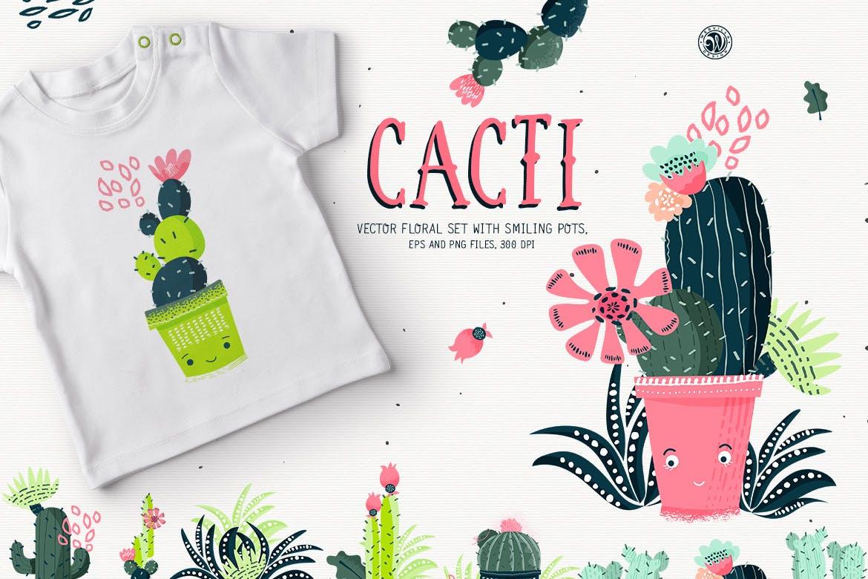 仙人掌手绘元素装饰图案素材模板Cacti With Smiling Pots插图