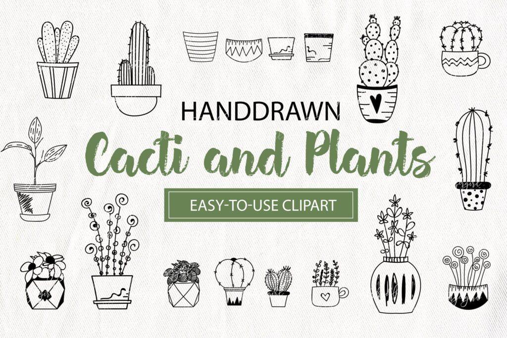 手工绘制的花卉元素的集合仙人掌和盆栽植物Cacti and Plants Clipart插图
