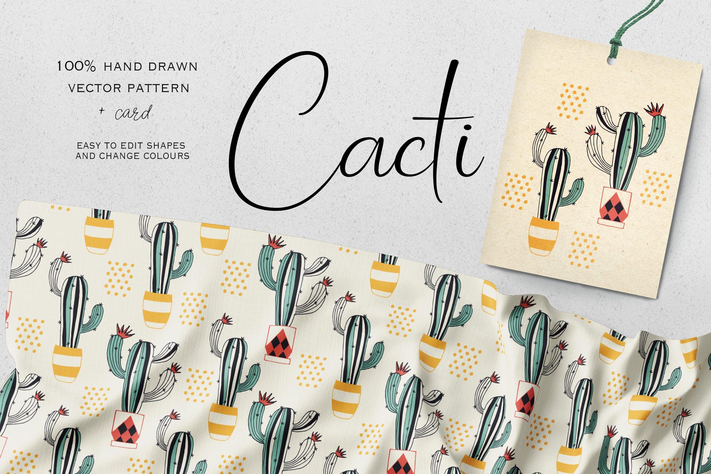 仙人掌拟人化创意装饰图案布艺花纹装饰图案Cacti Vkys2cq插图
