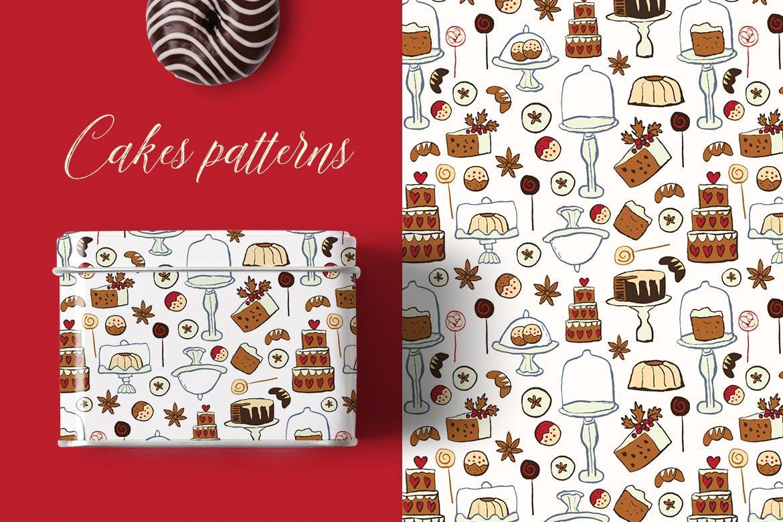 生日蛋糕相关元素装饰图案纹理Cakes Patterns插图(6)