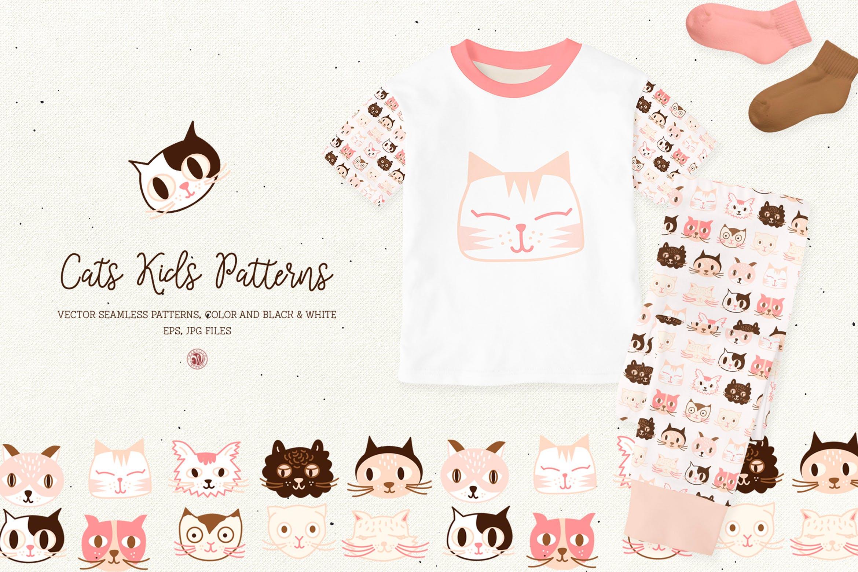 可爱猫孩子创意图案素材花纹猫孩子模式Cats Kids Patterns插图