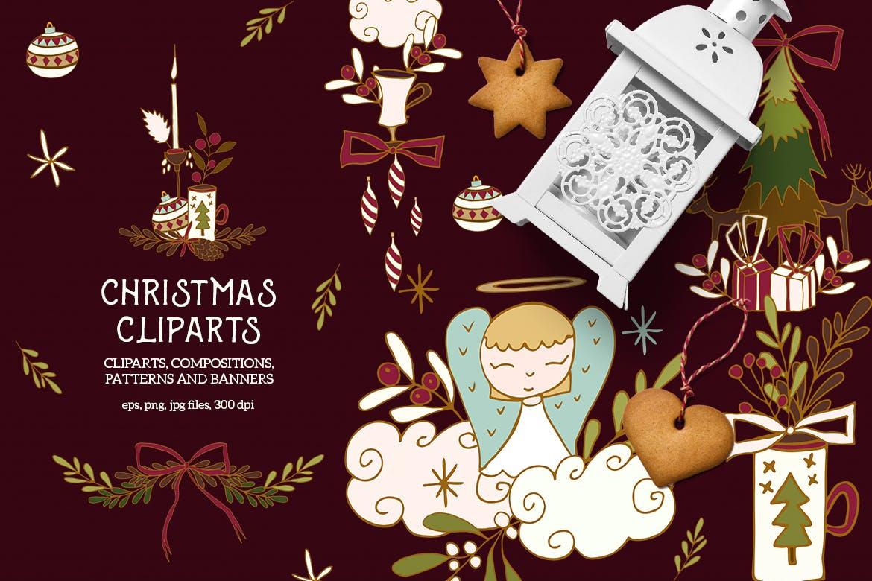 圣诞节剪贴画矢量手绘元素装饰素材Christmas Cliparts插图