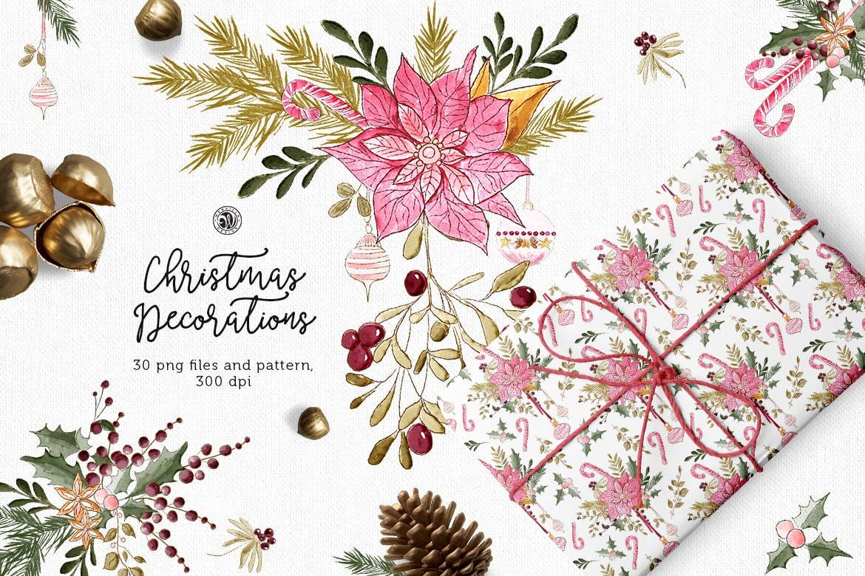 圣诞装饰素材图案纹理花卉图案纹理下载Christmas Decorations插图