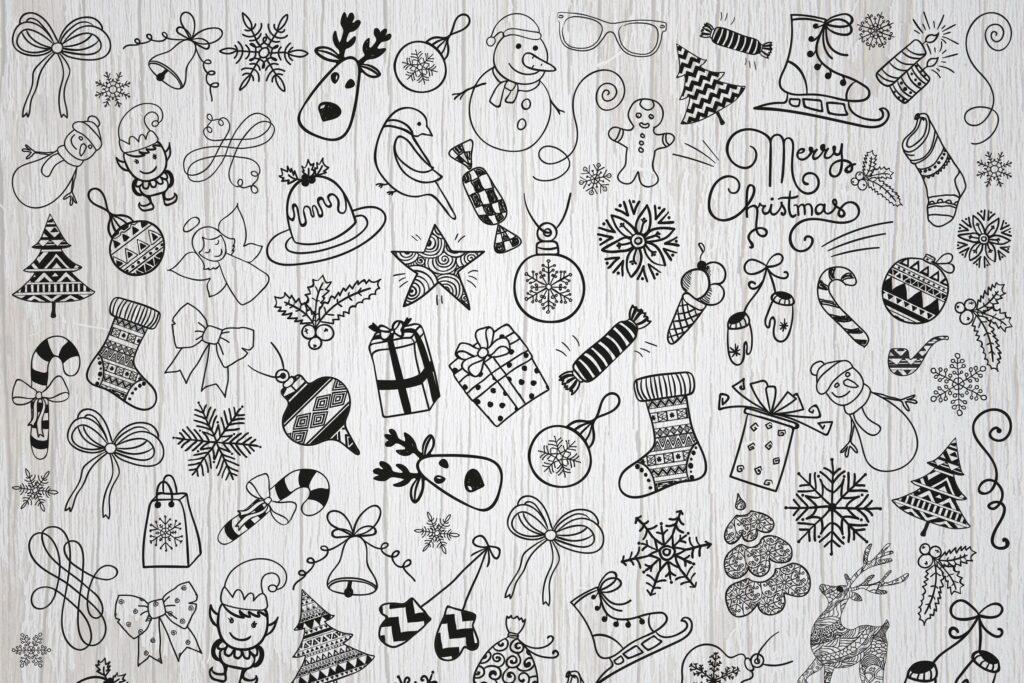 手绘乡村装饰涂鸦圣诞图标设计元素Christmas Doodles Vector PNG SVG插图