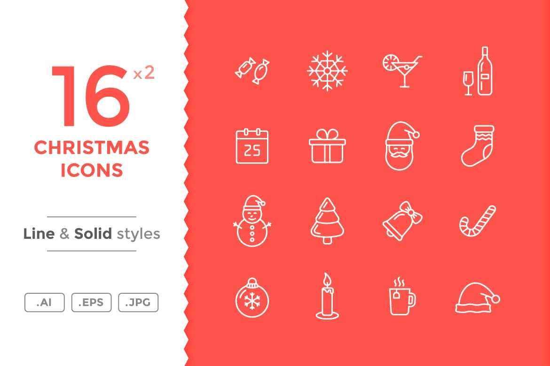 16个圣诞节系列图标Christmas Icons插图