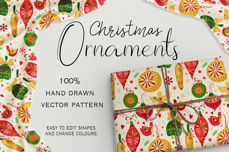 圣诞节装饰元素图案布艺装饰花纹Christmas Ornaments Seamless Pattern插图