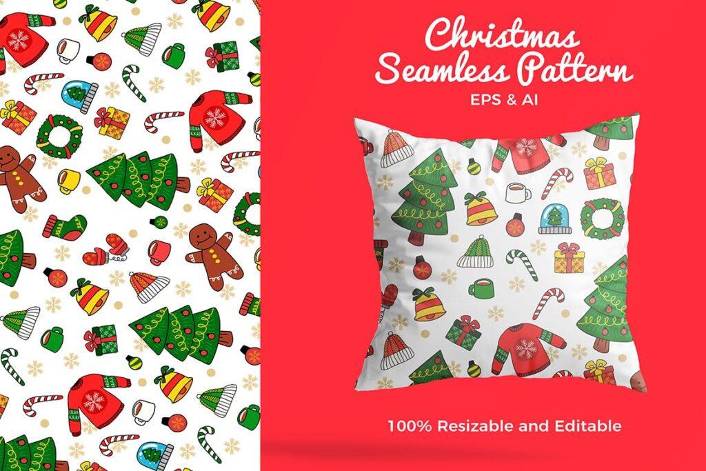 圣诞图案装饰图案矢量插图抱枕装饰图案花纹Christmas Pattern Vector Illustration插图