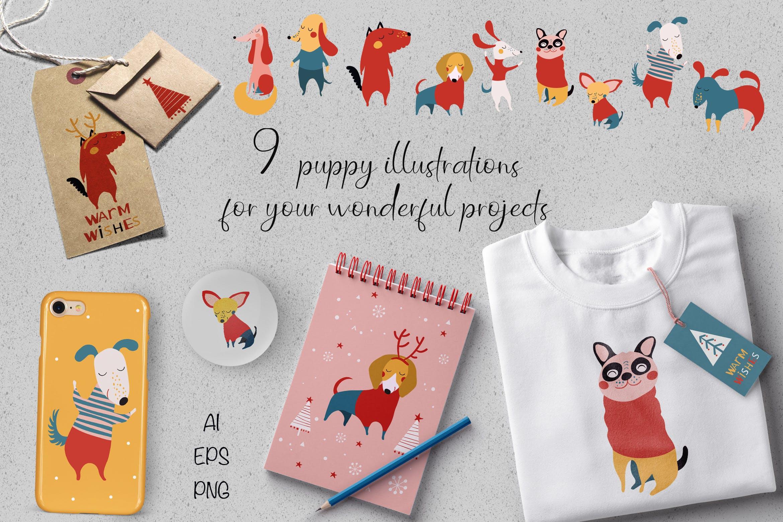 幼犬创意设计元素品牌装饰图案花纹Christmas Puppies插图