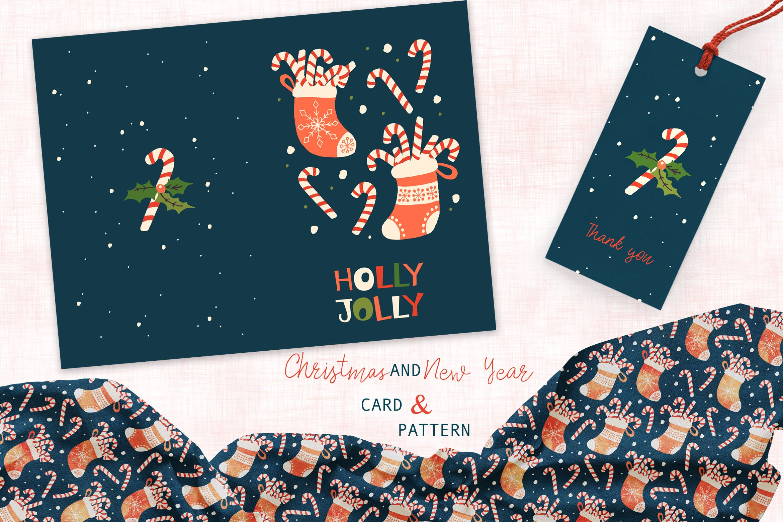 圣诞袜主题卡片图案装饰元素Christmas Stocking card and pattern插图