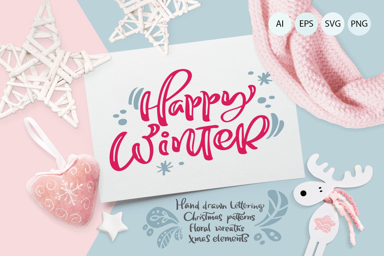 圣诞节元素雪花/星星/手套/礼物图案花纹装饰图案模板Christmas lettering quotes design插图
