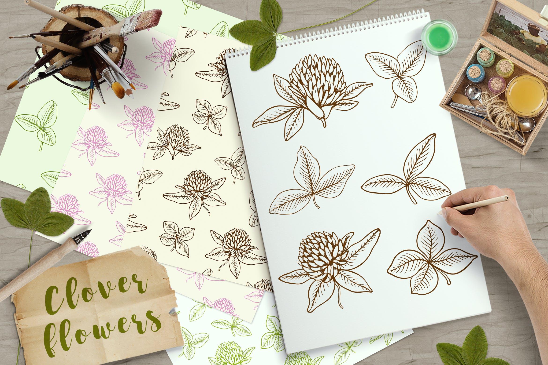 手绘三叶草花和叶子矢量图案花纹素材Clover Flowers and Leaves插图