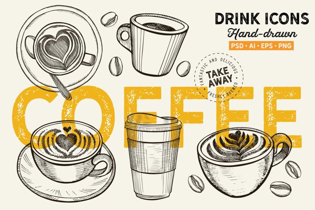 卡布奇诺意大利浓咖啡咖啡杯手绘元素咖啡Coffee Mugs Hand Drawn Graphic插图