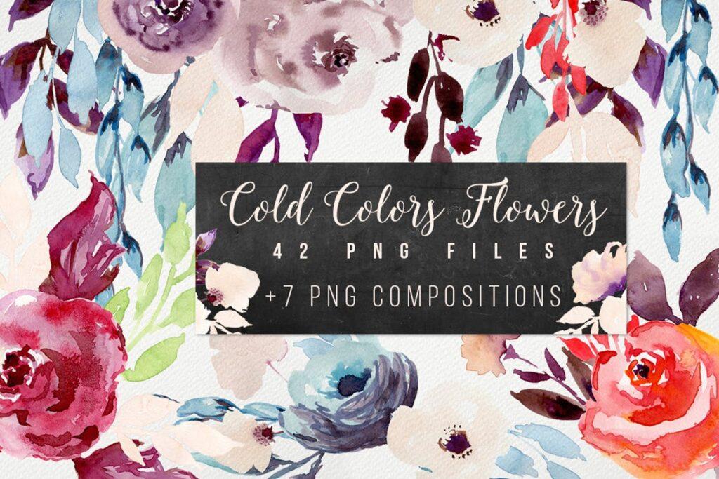婚礼邀请函花卉水彩涂鸦装饰图案下载Cold Colors Flowers插图