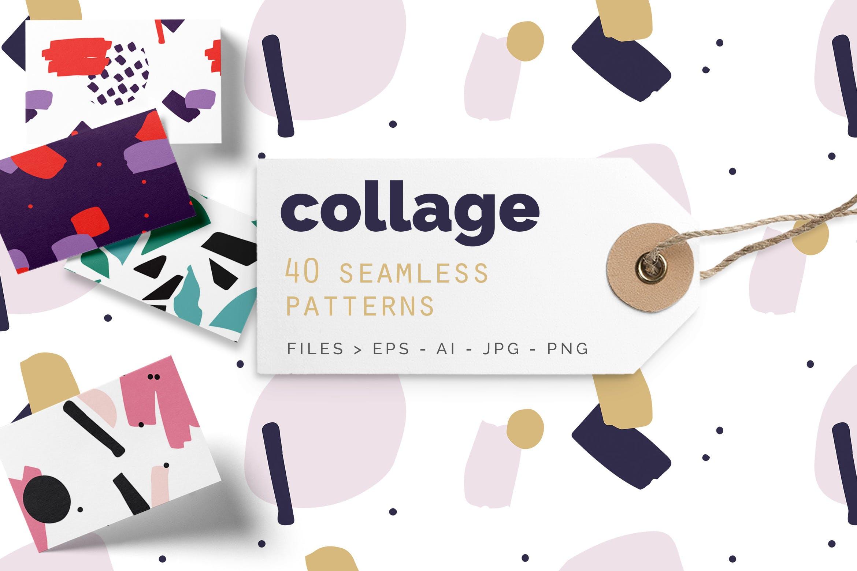 40个创意拼贴彩色图案涂鸦下载Collage Colorful Patterns插图