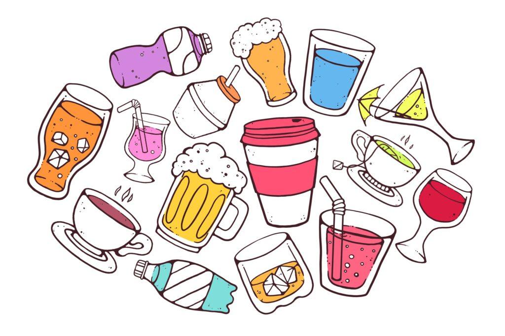 多彩饮料主题元素涂鸦装饰图案Colorful Drinks Doodles插图