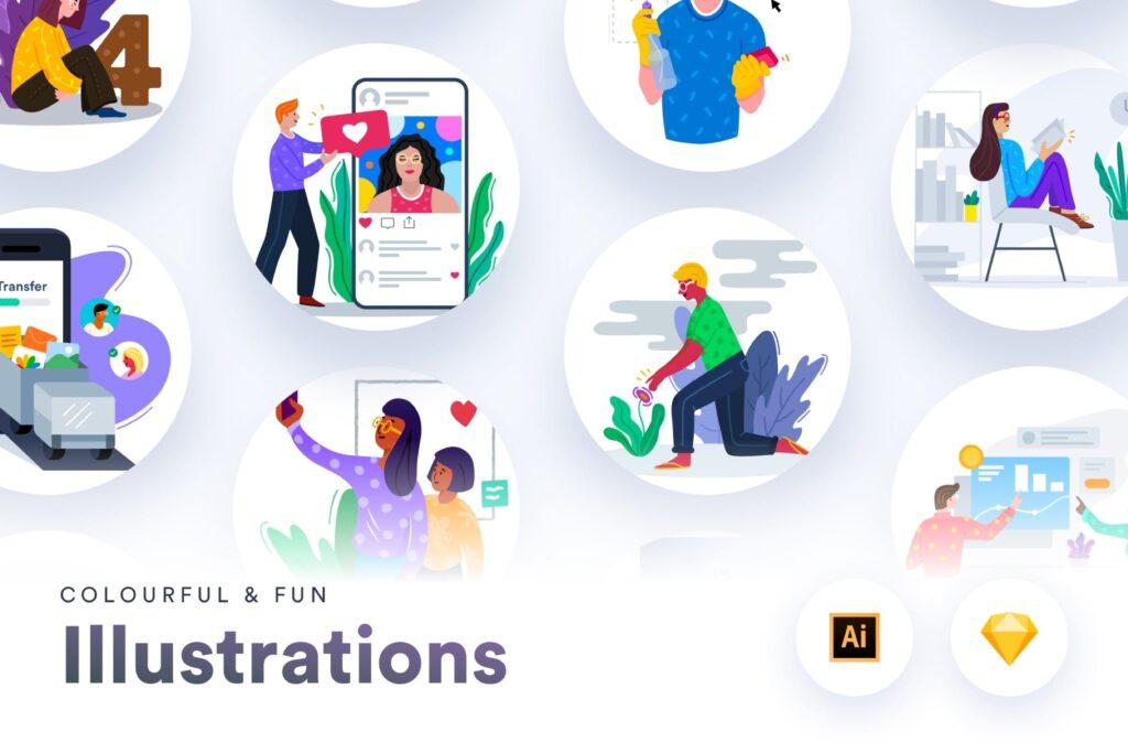 10个手绘扁平风的艺术作品插画Colourful Fun Illustrations插图