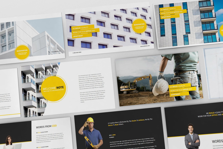 建筑行业团队介绍幻灯片模板展示Construction Powerpoint Presentation插图
