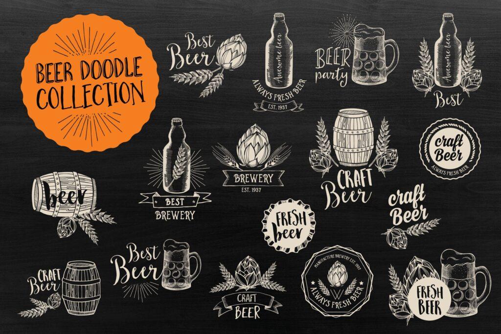 矢量黑白风格手绘咖啡装饰图案下载Vintage Coffee Bundle插图