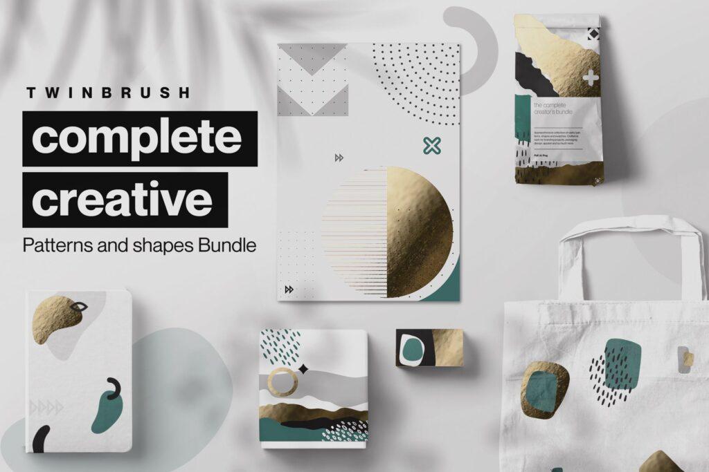 企业品牌装饰图案辅助图像素材花纹下载Creative Shape and Patterns Bundle插图