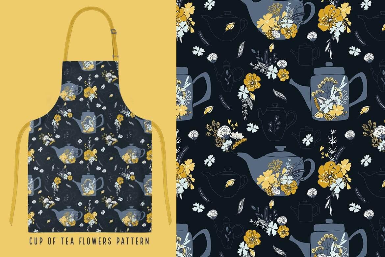厨房围裙包装图案创意设计花纹图案下载Cup of Tea seamless pattern插图