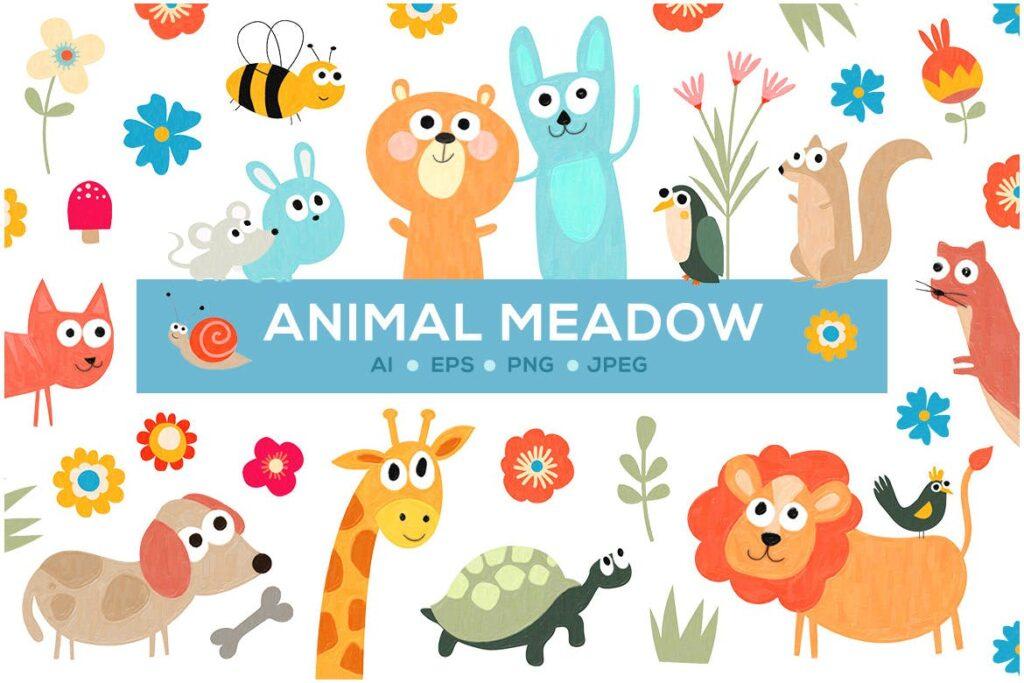 有趣创意动物和花卉插图Cute Animal Meadow插图