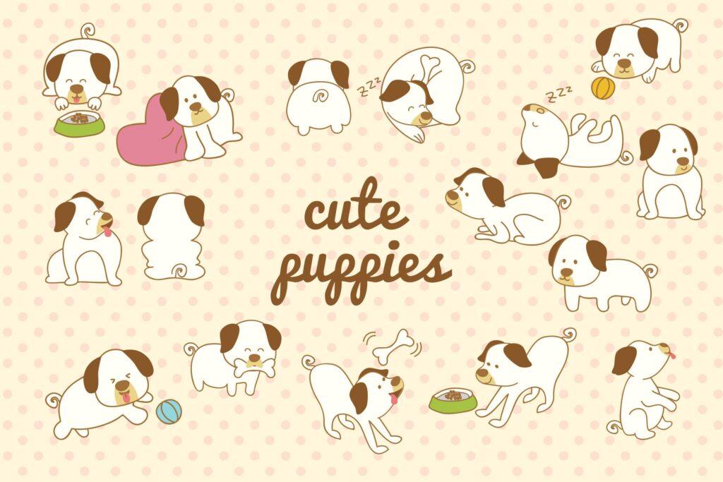 手绘可爱小狗和涂鸦风格卡通狗插图Cute Dog Hand Drawn插图