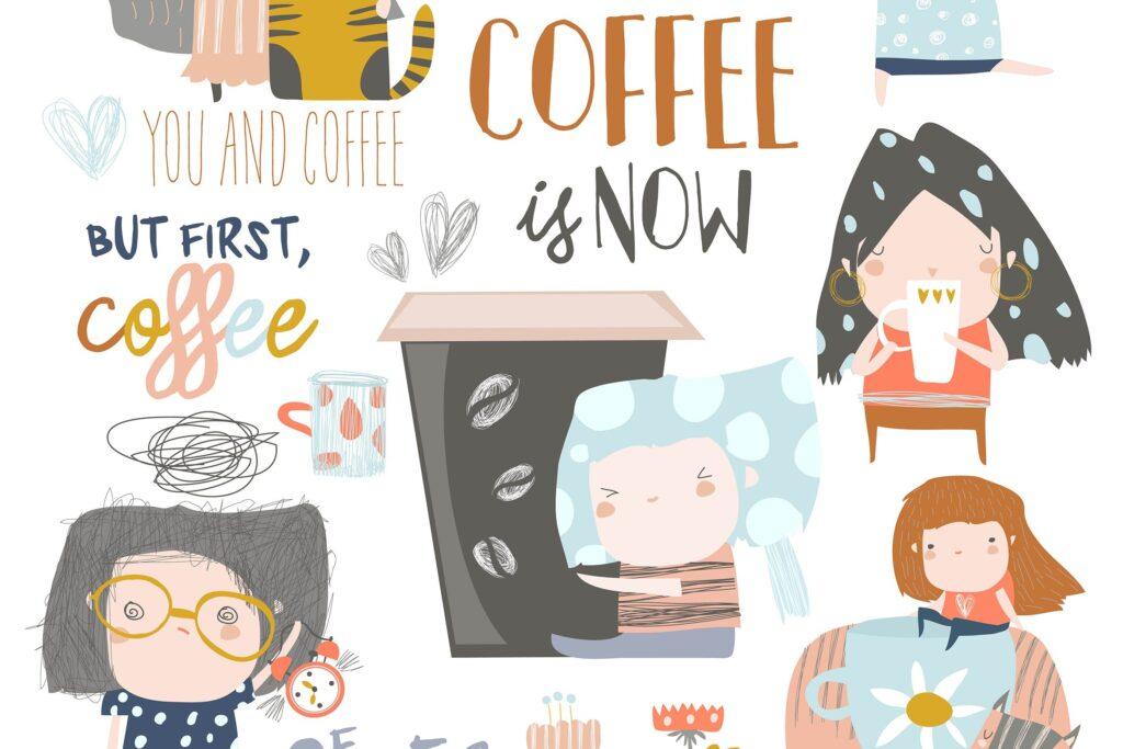 咖啡相关创意场景装饰图案元素Cute young girls drinking coffee Vector set插图