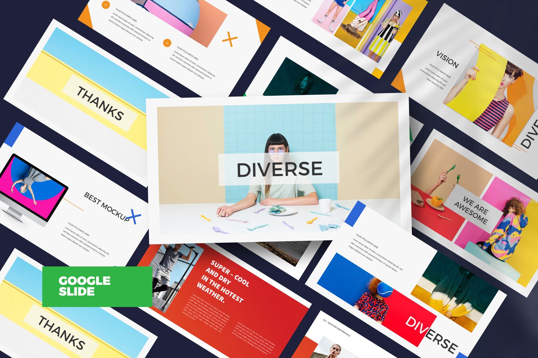 时尚品牌艺术配色创意版式PPT幻灯片模板DIVERSE Google Slide插图