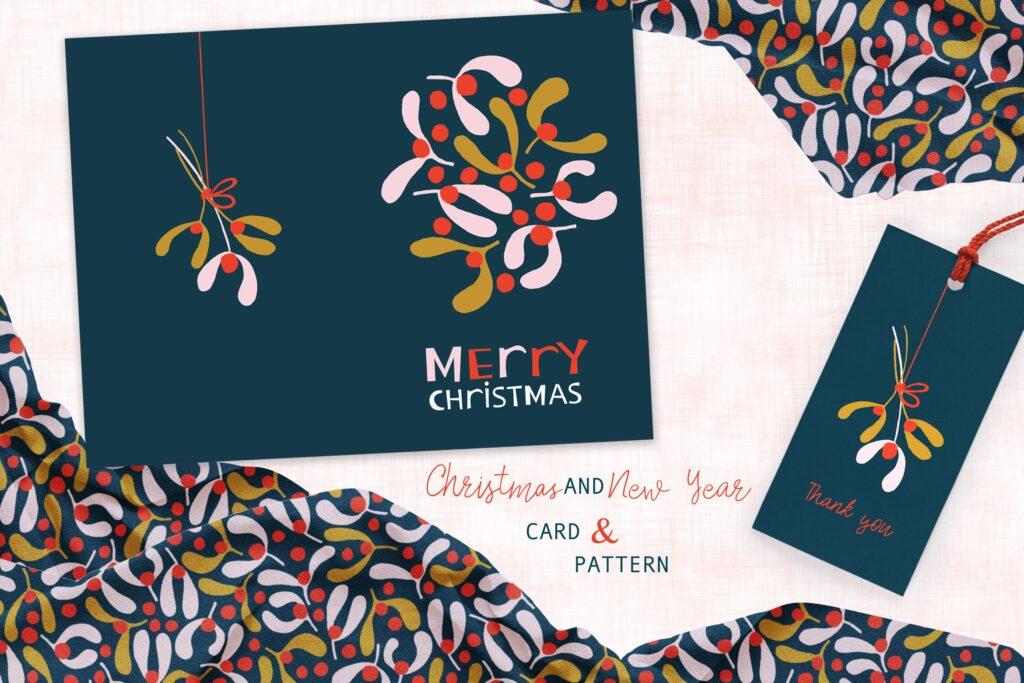 印刷品装饰图案花纹素材Dark Mistletoe card and pattern插图