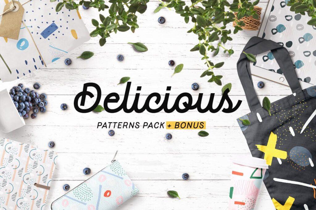 高端文艺企业品牌VI辅助图形装饰图案下载Delicious Patterns Pack Bonus插图