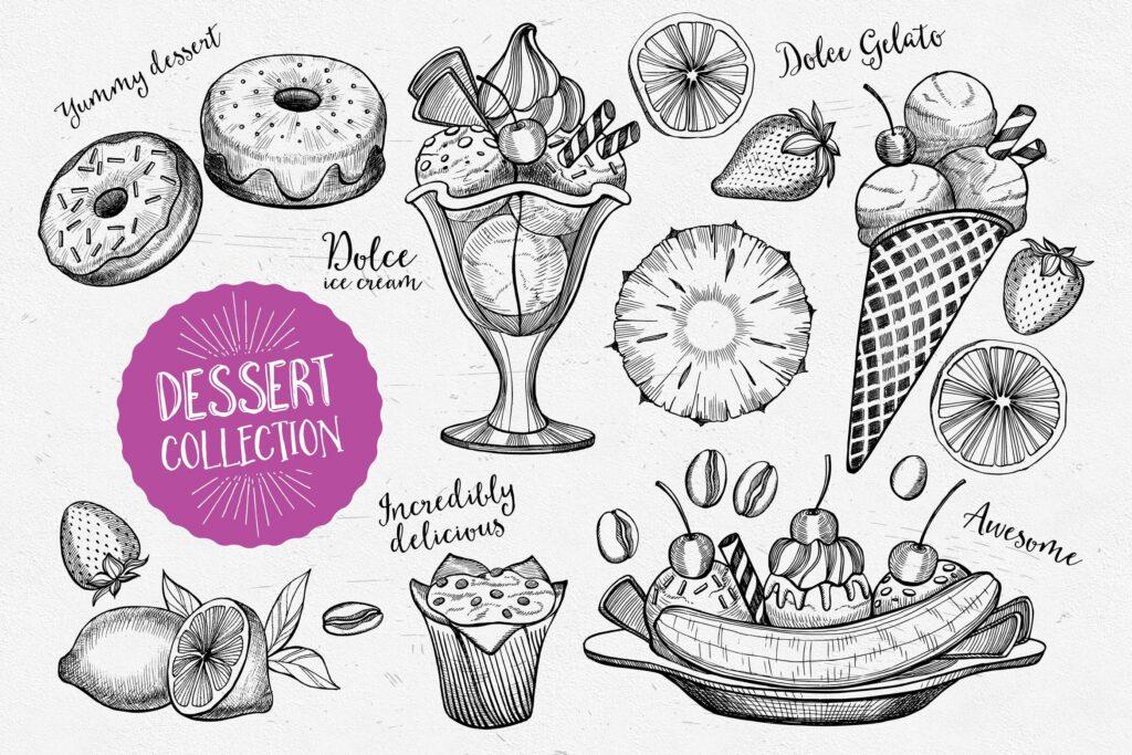 甜点食品涂鸦元品牌装饰图案元素下载Dessert Food Elements插图