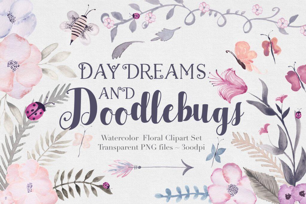 24个独特花卉昆虫和叶子创意图案装饰元素Doodlebug Flowers  Clipart Set插图