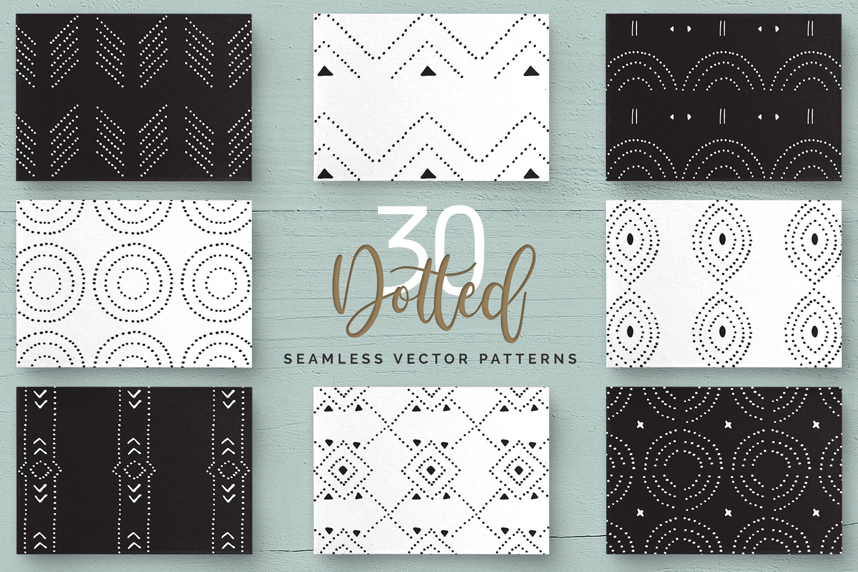 几何形状手工制作图案纹理素材下载Dotted Vector Patterns Tiles插图