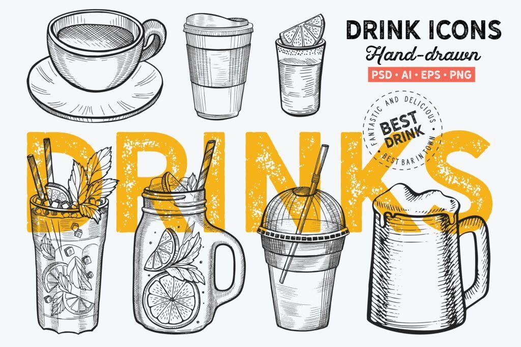 饮料手绘元素咖啡精致手绘装饰图案Drinks Hand Drawn Graphic插图
