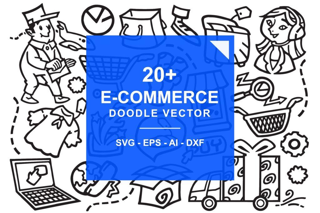 20+电子商务网店手绘涂鸦图标装饰图案E-Commerce Online Store Doodles插图