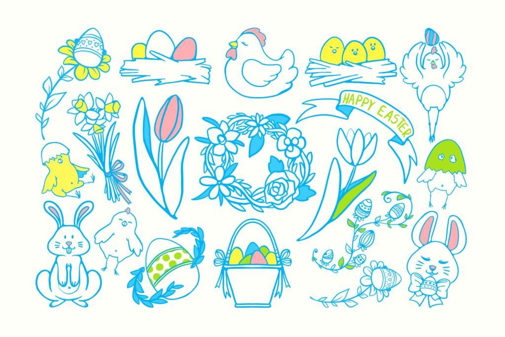 复活节主题守手绘涂鸦扎装饰图案花纹下载Easter Joy Doodles插图