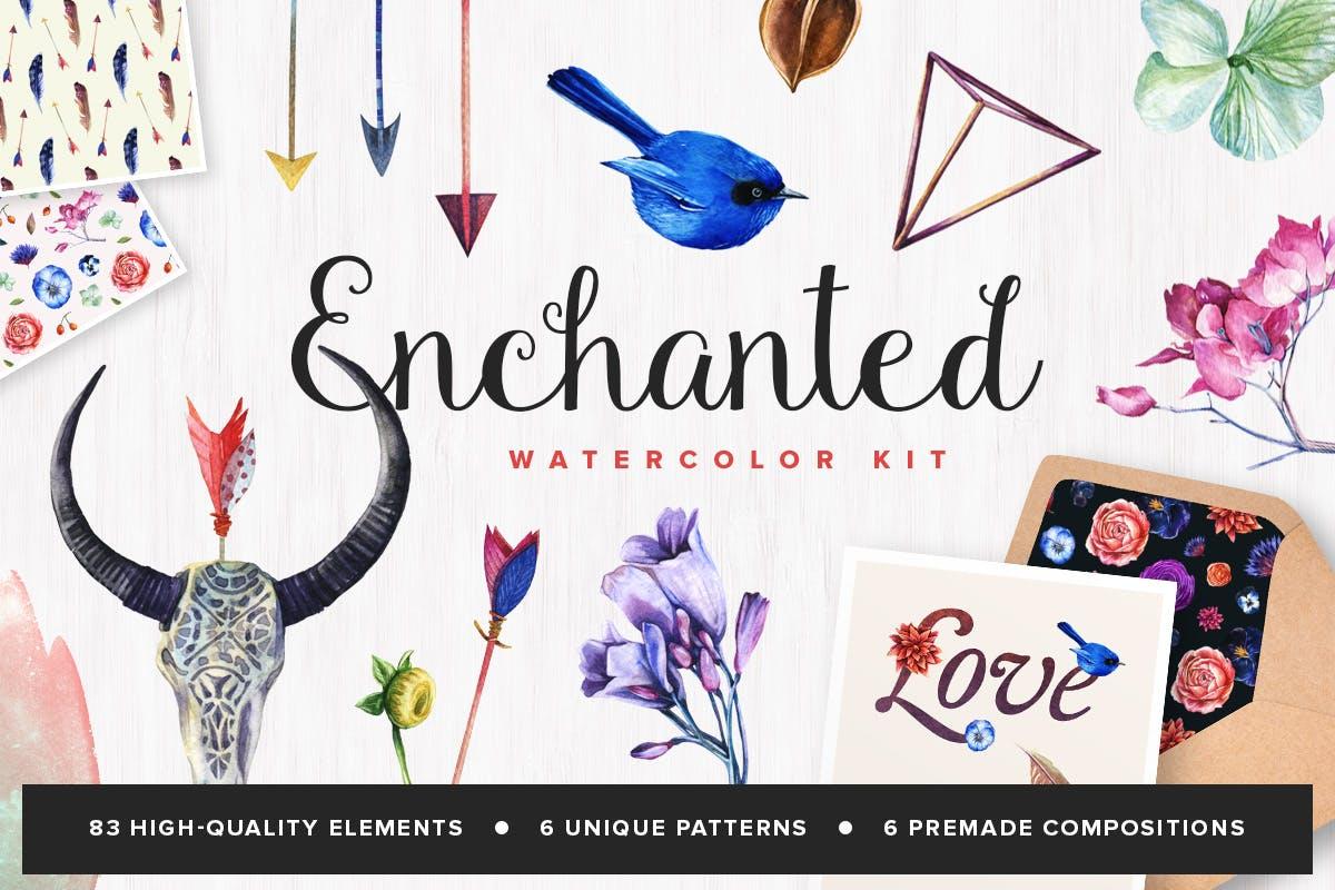 花卉/树叶/羽毛水彩元素装饰图案Enchanted Watercolor Kit插图