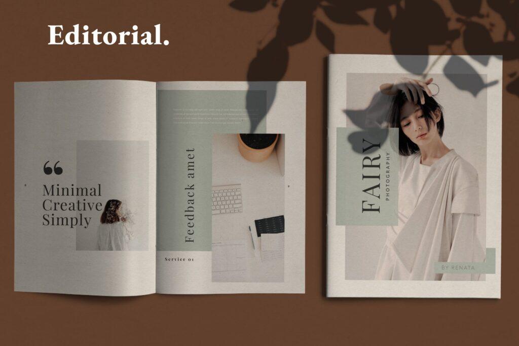 简约时尚工作室产品介绍主题画册模板Fairy Lookbook Brochure Business Company Xyuzvt6插图