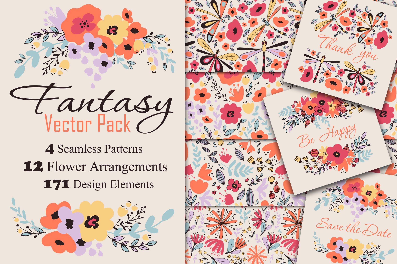 女性服饰品牌装饰图案/花纹素材Fantasy Flowers插图