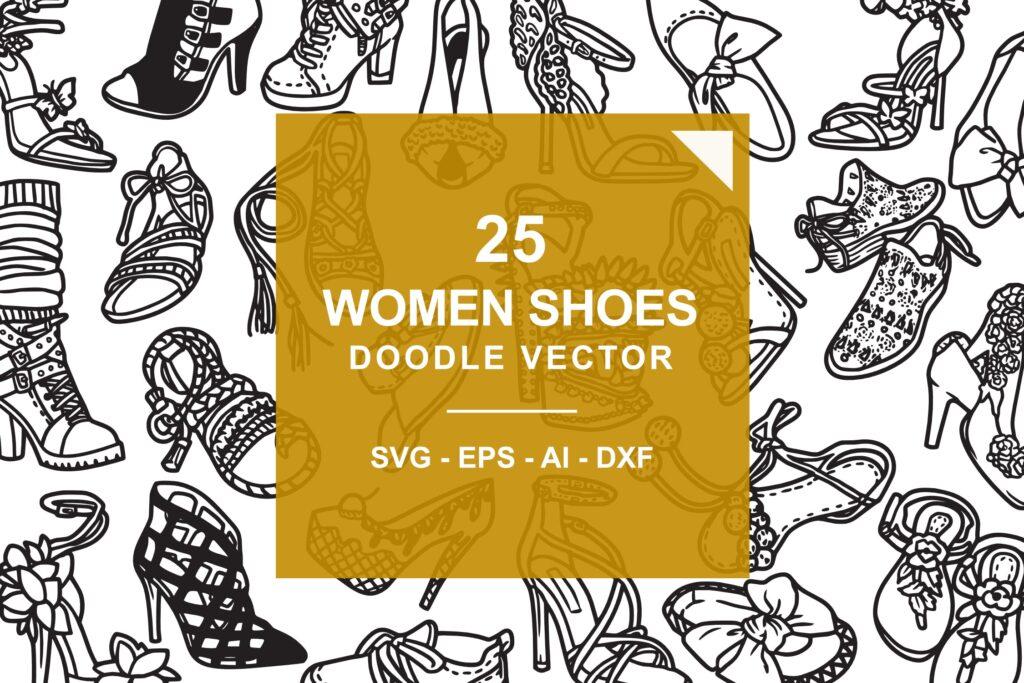 25个时尚女孩鞋子/矢量女式鞋子涂鸦线性图标Fashion Shoes Hi Hill Doodle Vector插图