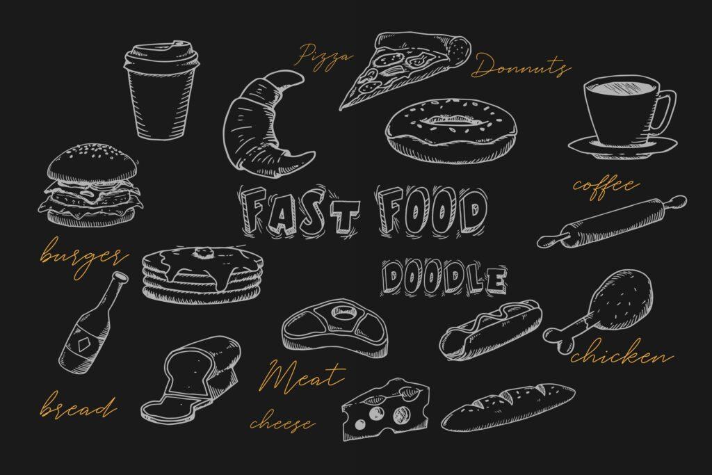 手绘咖啡店美食餐饮素材美食品牌餐饮装饰元素Fast Food Doodle Collection插图