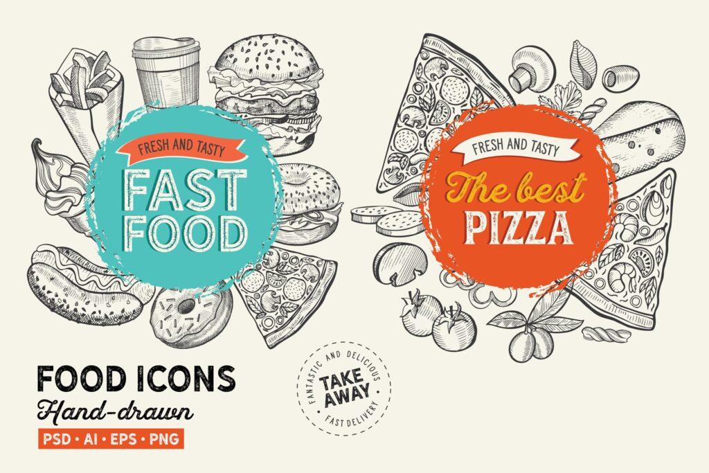 快餐手绘元素餐饮美食元素下载Fast Food Hand Drawn Graphic插图